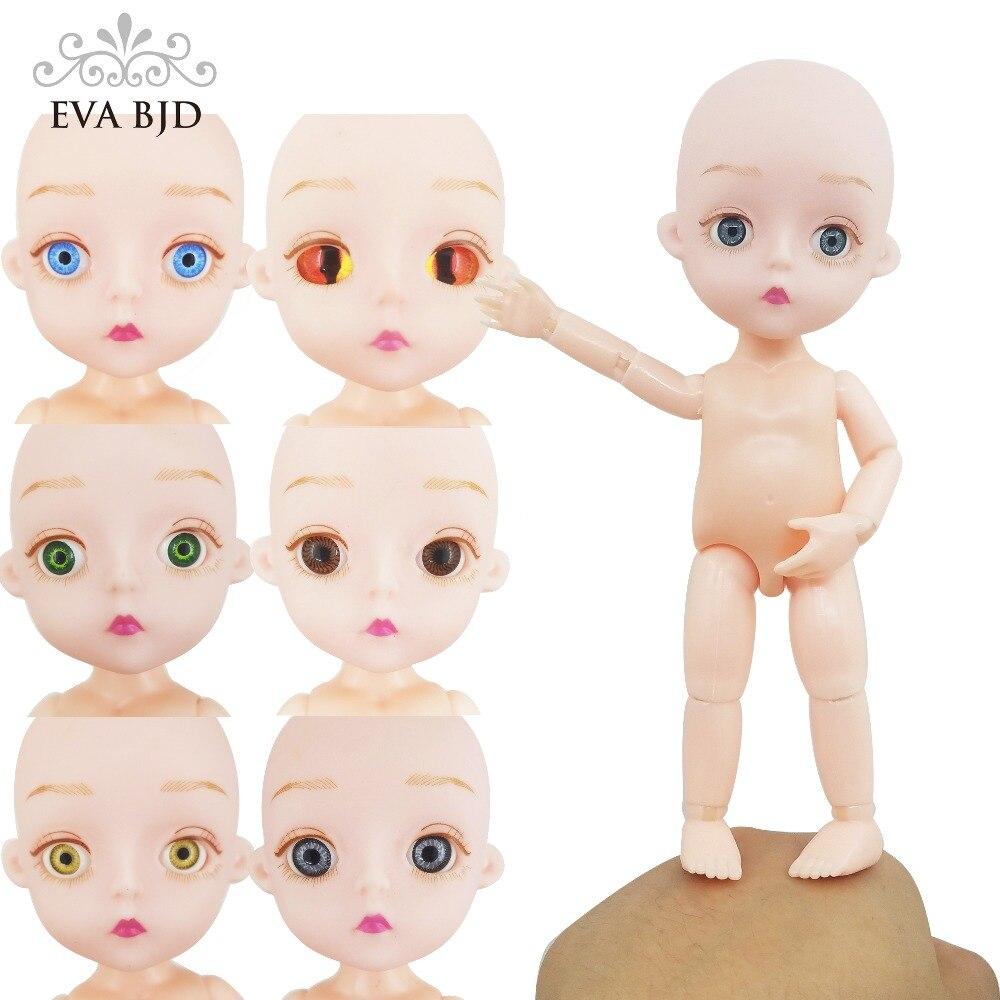 EVA BJD SD Poupée 1/8 Mignon 15 cm 5.9 Pas de cheveux Nu ou avec robe jointé poupées PVC Souple tête Corps Dur BRICOLAGE Jouet pour Enfant Cadeau