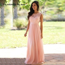 Wedding guest dress hot chiffon lace Scoop neck A Line pink mint country bohemian bridesmaid dress long vestido madrinha cheap
