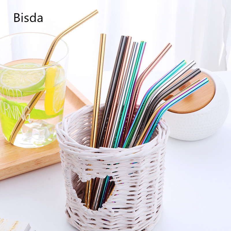 18cm Short Drinking Straw For Kids Stainless Steel Straw Reusable 100pcs Rainbow Metal Straws with brushes