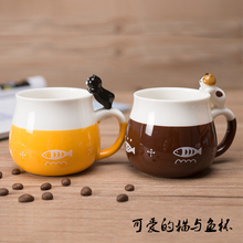 Lovely Cat and fish Handle Mugs Cup Creative Ceramic Coffee Tea Milk Drinkware