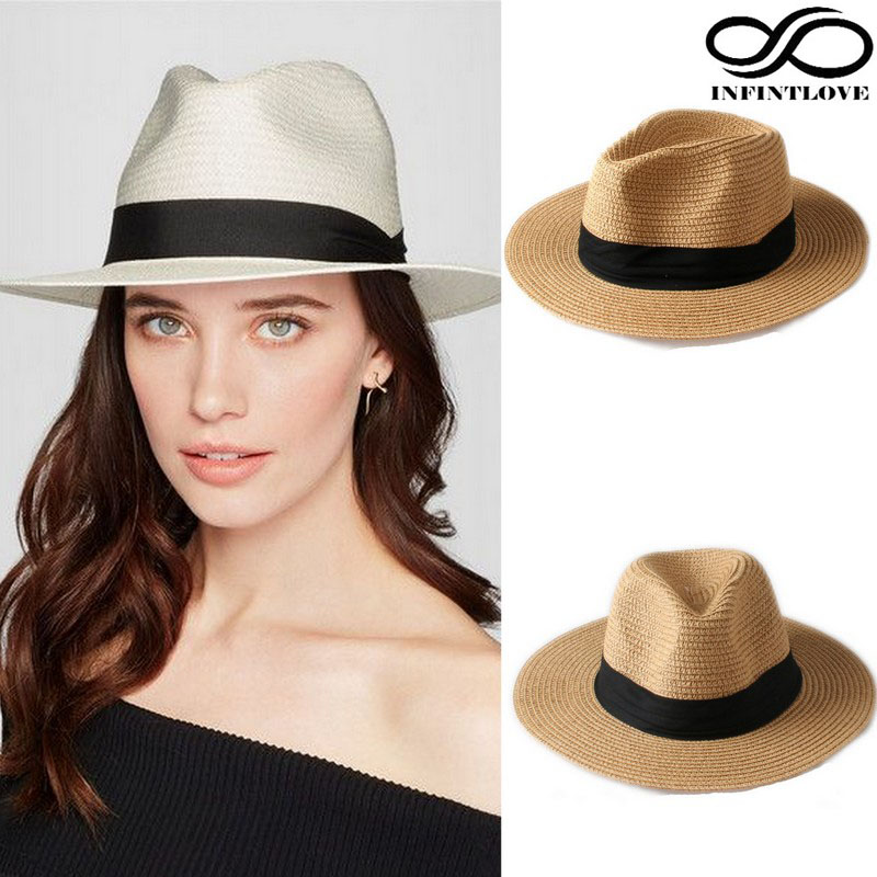 LUCKYLIANJI Summer Fashion Men Women Straw Panama Fedora Sun Hats Beach Gangster Ribbon Band Wide Brim Cap One Size: 7 1/4