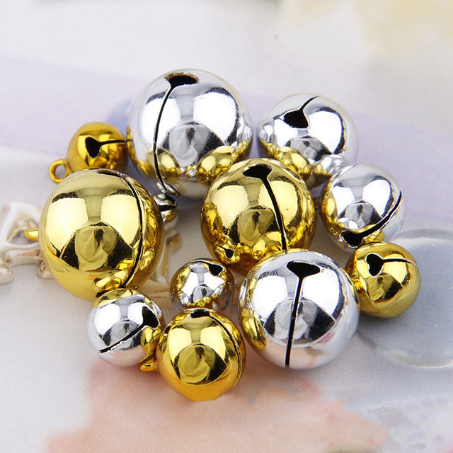 40PCs Gold Silver Jingle Bells Pendants Hanging Christmas Tree Inspiration Silver Bells Decorations