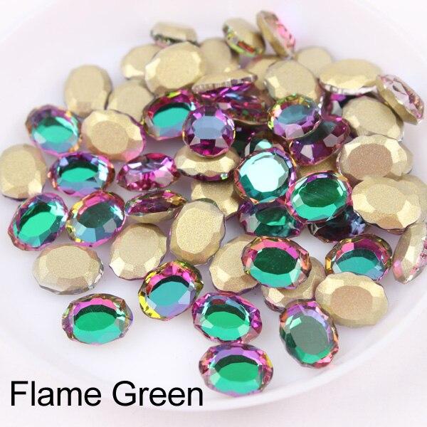 Зеркальная поверхность, не требующей горячей фиксации Стразы овальной формы 6x8 мм 30/100 шт./упак. для художественного оформления ногтей, ручная работа аксессуары свадебное платье для девочки ясельного возраста и сумка-чехол для нейл-арта - Цвет: Flame Green