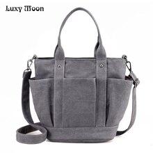 Luxy Mond Frauen Leinwand Handtasche Gelegentliche Große Kapazität Heißer Verkauf Body Totes Bolsas Solide Schultertasche Wing Taschen ZD669