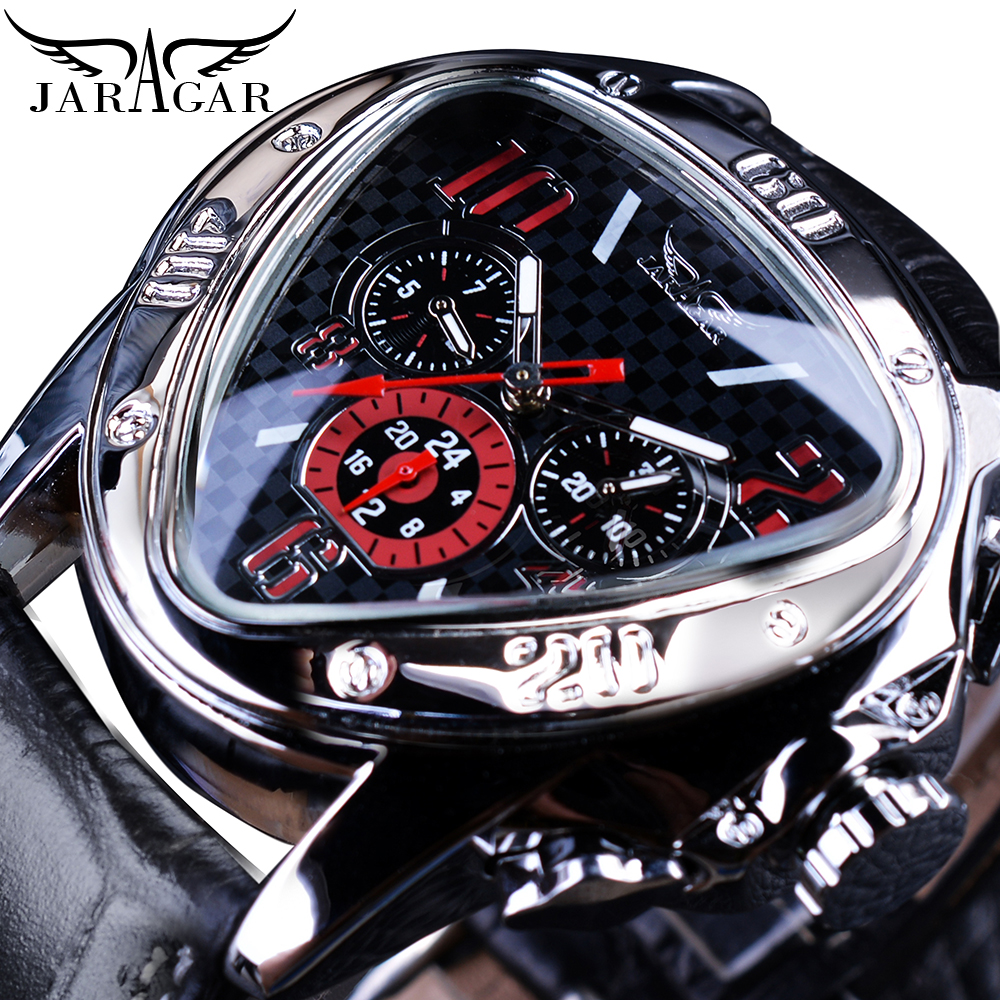 Jaragar Clock Men Sport Watches Top Brand Luxury Automatic Fashion Male Wristwatch Red Triangle 3 Dial Mechanical Relojes Hombre