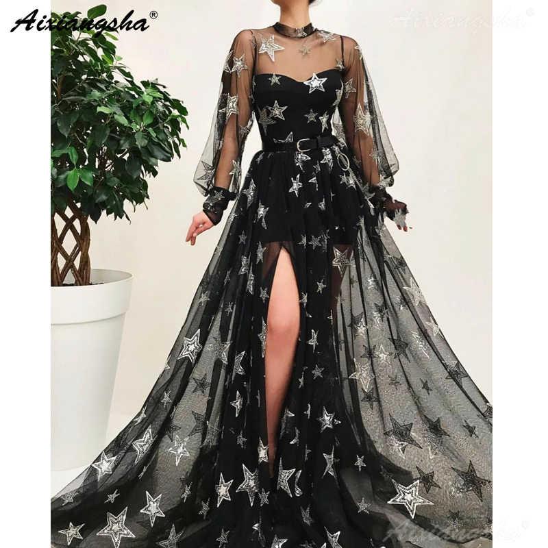 Черные мусульманские Вечерние платья 2019 ТРАПЕЦИЕВИДНОЕ ПЛАТЬЕ с длинными рукавами для выпускного вечера ислам Дубаи кафтан Саудовская Арабский высокий разрез сексуальное вечернее платье
