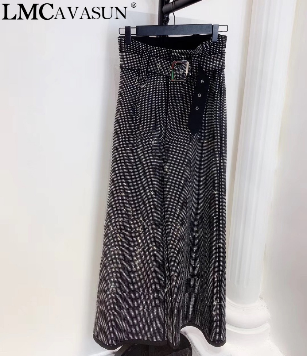 LMCAVASUN 2019 fashion Women's Clothing Loose Pants Capris Flash drilling Casual trousers Wide leg pants
