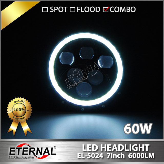 2pcs 60W 7Inch Round Led Headlight for Offroad 4x4 motorcycle truck  jeep headlight dual sealed beam with halo angel eyes