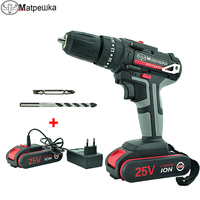 25V High Quality Electric Screwdriver Impact Drill Cordless Rechargeable Lithium ion Battery Electric Drill Power Tools + Gifts|Electric Screwdrivers| |  -