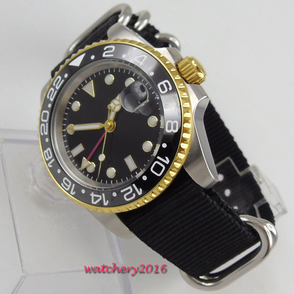 Casual 40mm PARNIS Sterile Black dial Sapphire Glass GMT Date Ceramic Bezel Nylon movement Men 39 s Watch in Mechanical Watches from Watches