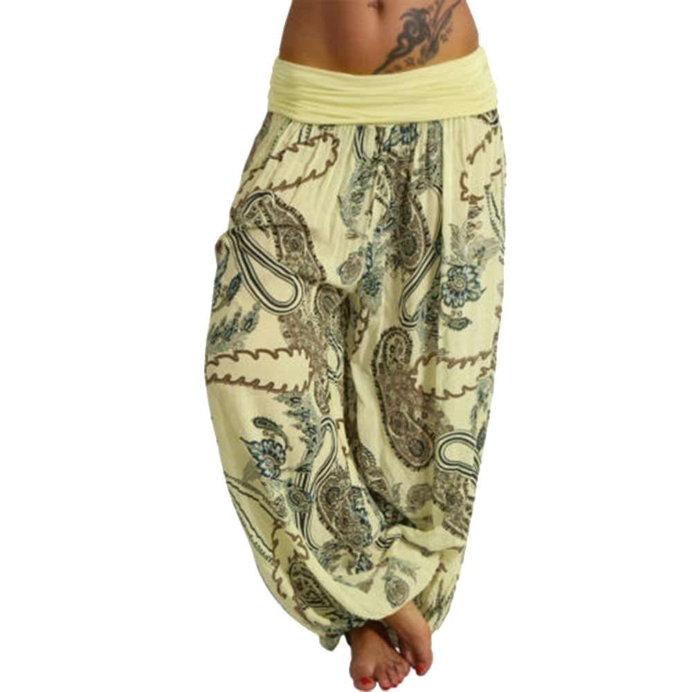 Bottoms New Hot Fashion Womens Bohemian Printed Harem Pants Wide Leg Loose Slim Casual Trousers