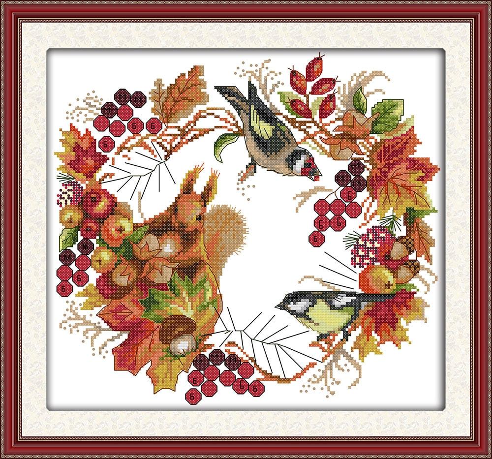 Joy wreath Lienzo DMC Kits de punto de cruz contados impresos Juego - Artes, artesanía y costura