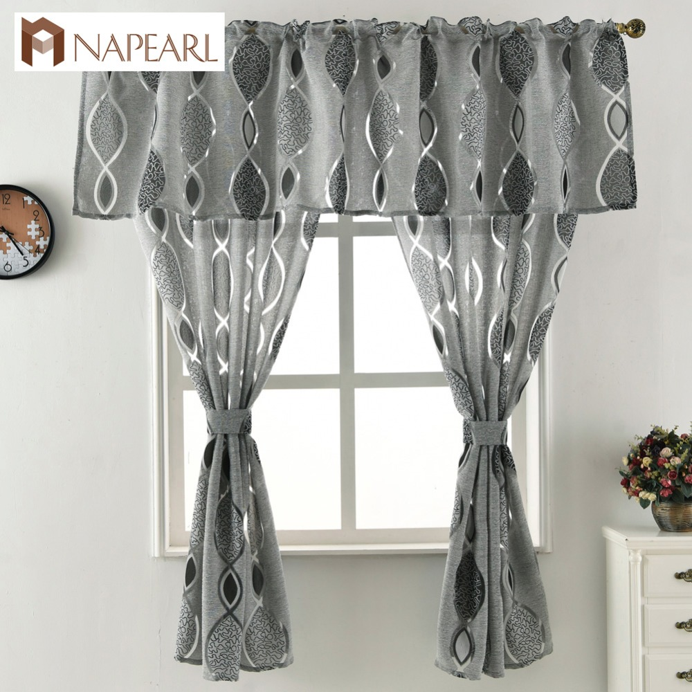 US $4.25 50% OFF|Jacquard short curtain valance kitchen curtain home living  room door balcony window treatment modern curtain geometrics-in Curtains ...