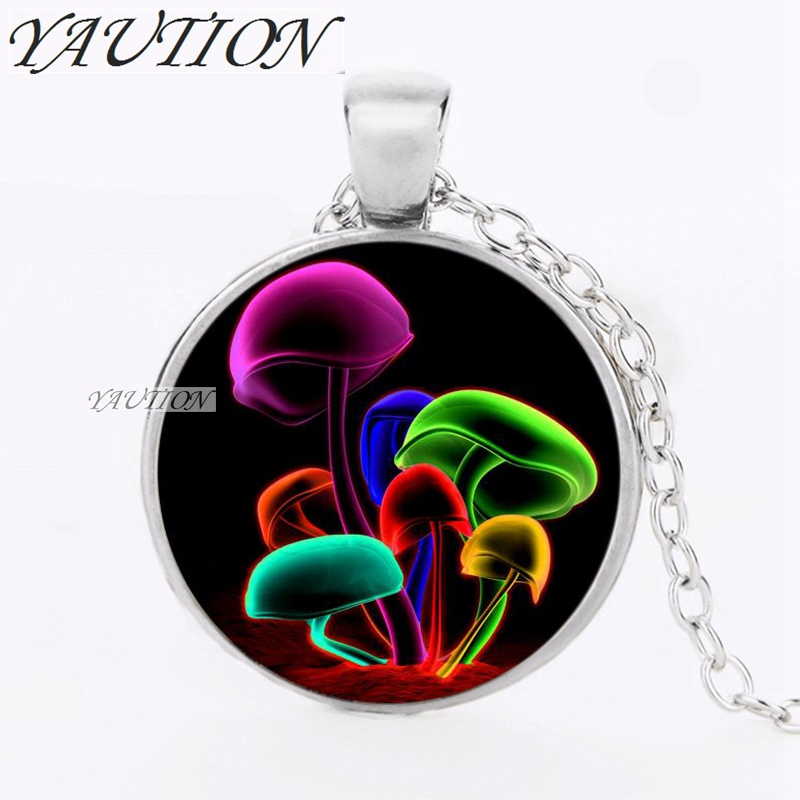 YAUTION 1pcs/lot Colored Glowing Mushrooms Logo Pendant