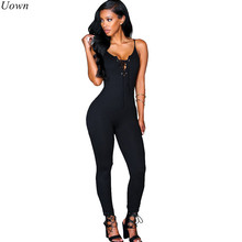 Spaghetti Strap Lace Up Elegant Bodycon Jumpsuit Romper Women V Neck Sleeveless Sportsuit Casual Black Long Overalls Bodysuits