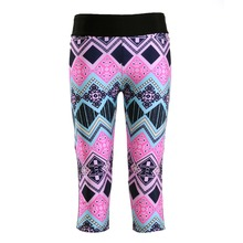 New 1228 Sexy Girl Women National Barrio Wave Plaid tartan 3D Print Workout Fitness Cropped Trousers Leggings Pocket Pants