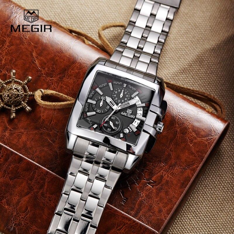 MEGIR Quartz-Watch Men Stainless Steel Chronograph Date Clock Mens Watches Top Brand Luxury Sport Wristwatch relogio masculino