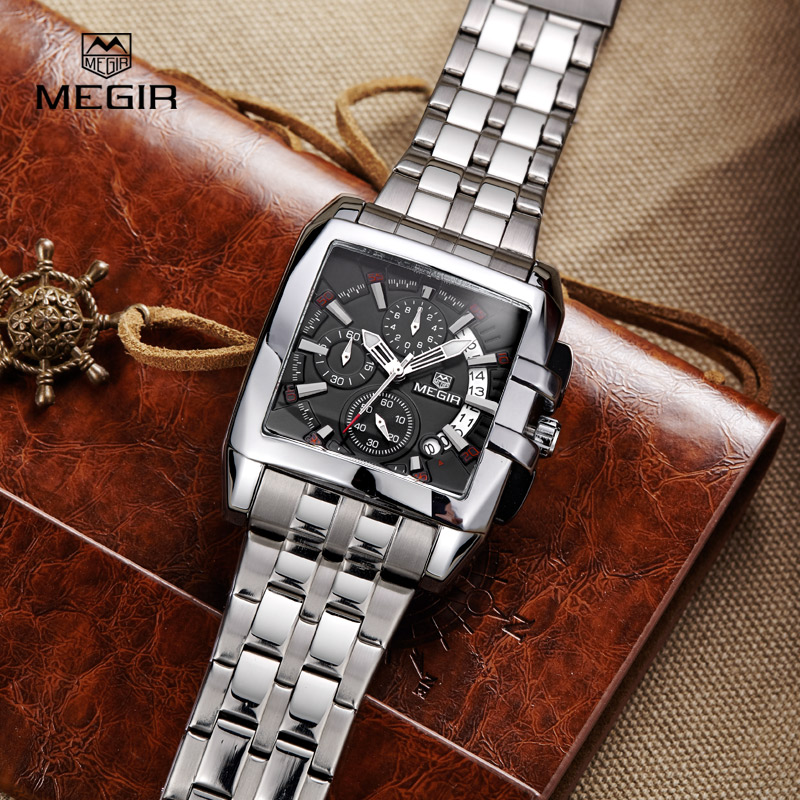 MEGIR Quartz-Watch Men Stainless Steel Chronograph Date Clock Mens Watches Top Brand Luxury Sport Wristwatch relogio masculino