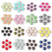 Lot de 20 boutons demi-rond en strass de 15mm, couleur rouge, rose, argent, cristal, blanc, pour robe de mariée, B0971
