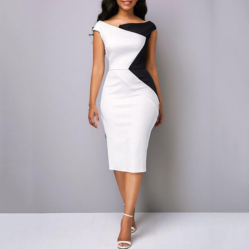 Women OL Dress Office Work Wear Business Evening Party Dual Color Irregular Dress Pencil Body-con Slim Pencil Dresses