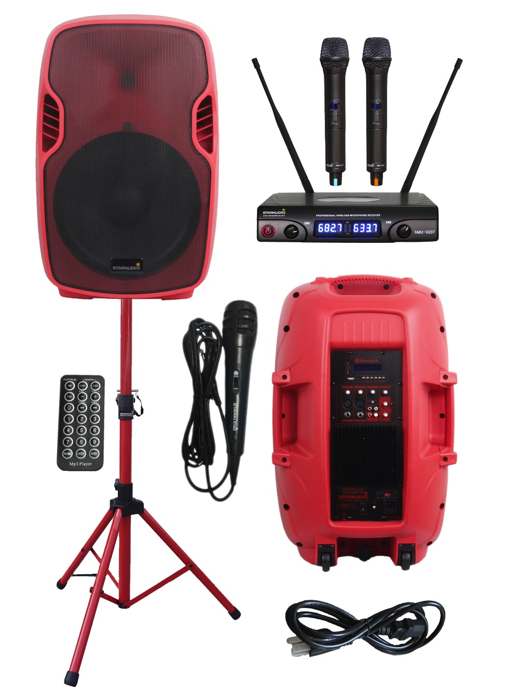 STARAUDIO Red PA DJ Stage 3500W 15 Powered Active USB SD FM BT Speaker with Stand Wired  ...