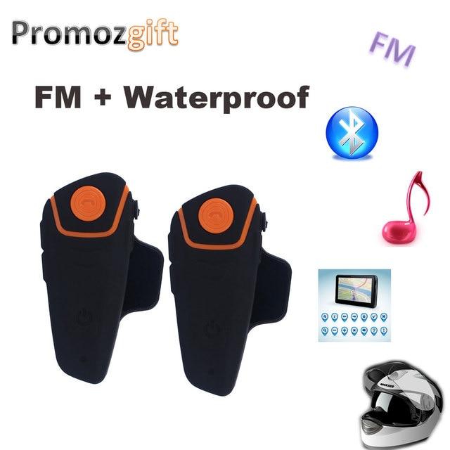 2PCS BT 3.0 BT-S2 1000M 30M IPX7 Waterproof Moto Helmet Bluetooth Headset Motorcycle bluetooth intercom for motorcycle with FM