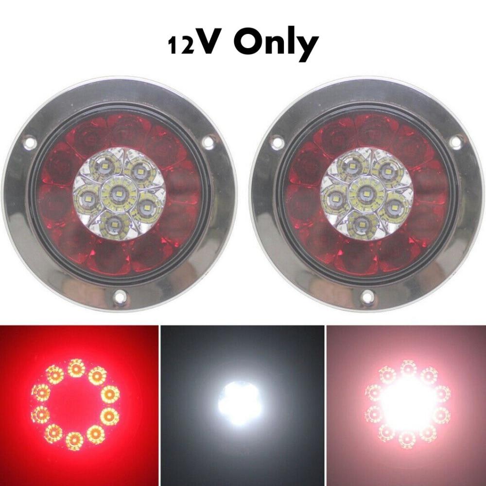 Fuleem 2PCS 4INCH Round Chrome Ring 16LED Red And White Truck Trailer Brake Stop Turn Tail Light DC 12V Universal