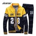 2017 Winter Warm Wear Polo Sweat Suit Plus Size XXXXL Hoodies+Pants Mens Tracksuits Sets Fleece Sweatershirt 2 Piece Set Men