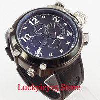 Big Luxury 50mm Automatic Men's Watch Big Crown Week and Date Indicator PVD Case Wristwatch