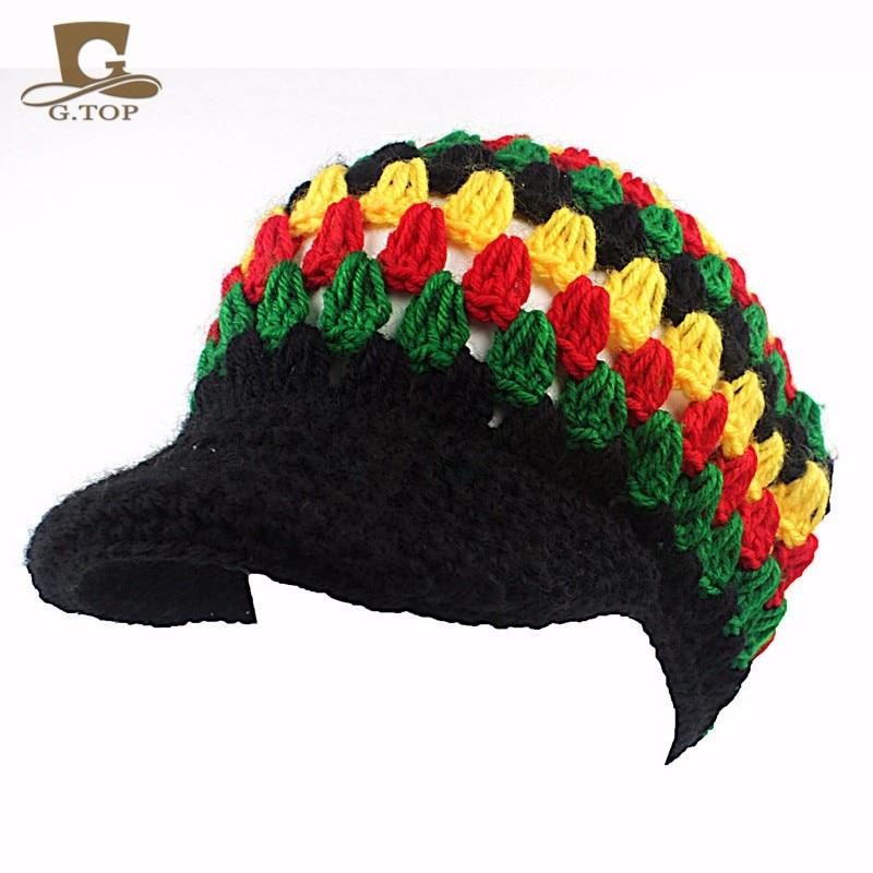 NEW visor Rasta Reggae Tam Beanie Beret Cap Hat Handmade Crochet Bob Marley hats RH-010 браслет reggae elements lgys122