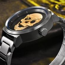 Punk cráneo 3d personalidad de la moda retro reloj de los hombres a prueba de agua 30 m de acero inoxidable reloj de cuarzo relogio masculino pagani design