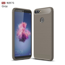 Hoesje Fundas Huawei P Smart Case Silicon for Enjoy 7S Cover Soft Carbon Fiber Brushed Coque Etui