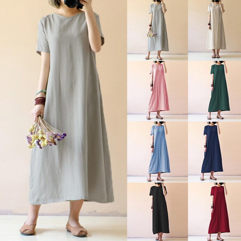 Celmia Plus Size Women Retro Linen Dress 2018 Summer Shirt Dresses Short Sleeve Solid Casual Loose Party Maxi Vestido Robe Femme
