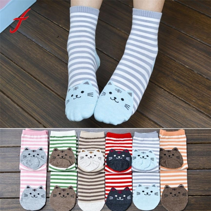 Newly Design Cute Cartoon Cat   Socks   Striped Pattern Women Cat Footprints Cotton   Socks   Floor Winter 3D   Socks   Drop Shipping