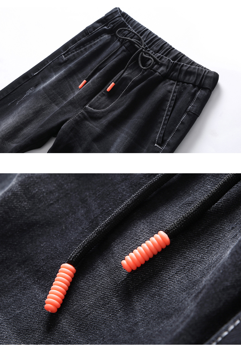 KSTUN Black Jeans Men 2020 Autumn Elastic Waist Drawstring Skinny Slim Fit Casual Pants Male Trousers Streetwear Quality Brand 12