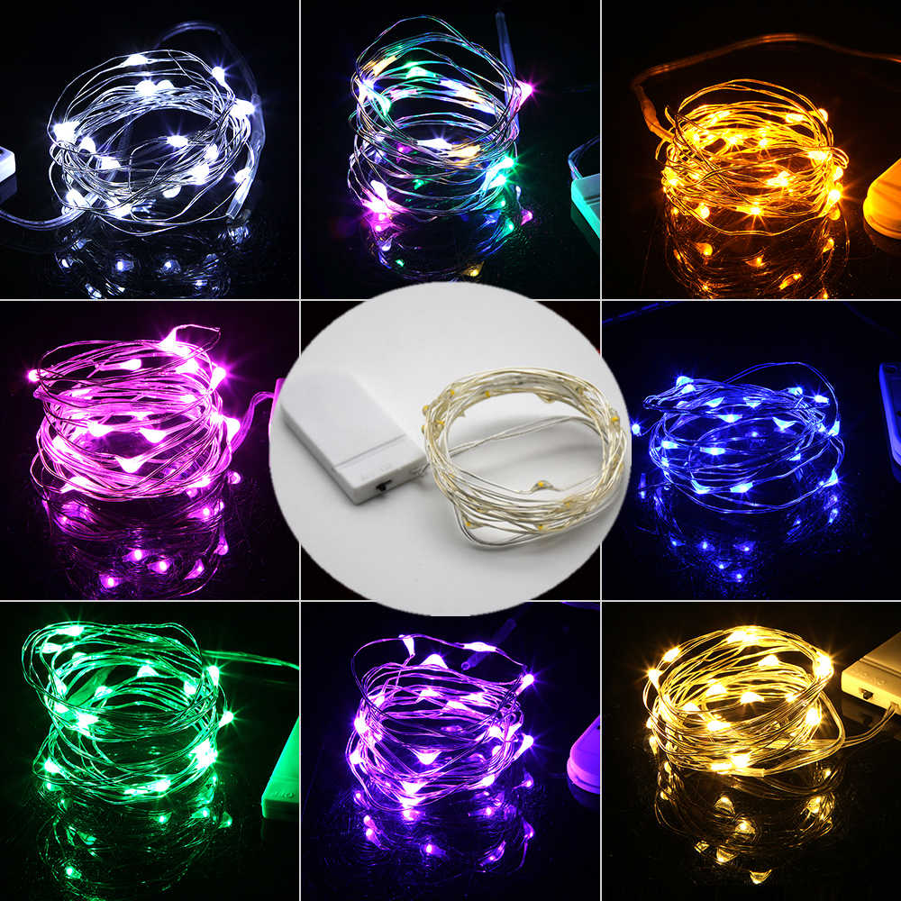 Mini LED String light 2M Silver Wire Fairy Lights for Garland Home Christmas Wedding Party Decoration Powered by CR2032 Battery