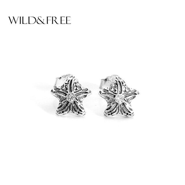Boucles d'oreilles en argent Sterling 925 pur sauvage et gratuit pour femmes boucles d'oreilles en argent Antique étoile de mer sculpture Zircon boucles d'oreilles Brincos