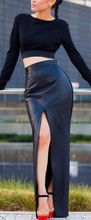 Black PU Leather Sexy Bodycon Slim Open Slide Womens Skirts High Waist Maxi Long Office Pencil Skirt Plus Size
