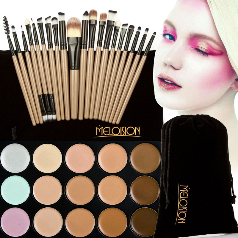 15 colors face blusher concealer palette 20 pcs wooden handle brushes makeup base foundation concealers face