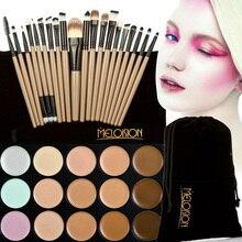 15 Colors Face Blusher Concealer Palette + 20 Pcs Wooden Handle Brushes Makeup Base Foundation Concealers Face Powder Brushes