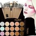Hot 15 colores face contour corrector paleta + 20 unids mango de madera pinceles de maquillaje fundación correctores polvo facial pinceles set