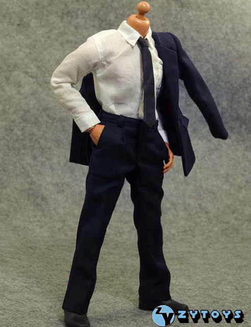"""Fashion1/6 Scale Male Blue Suit Set Clothing Man Bussiness Formal Clothes Model Toys F 12"""" Action Figure Body Hobby Collections"""