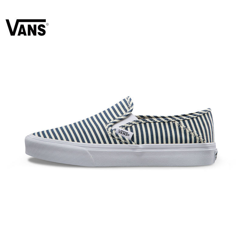 Original Vans Shoes Summer Blue Color Stripe Low-Top Women Sports Skateboarding Shoes Leisure Vans Canvas Sneakers Women Shoes original vans black and blue gray and red color low top men s skateboarding shoes sport shoes sneakers