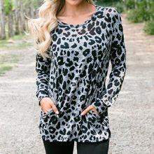(Ship from US) Leopard Women s Long Sleeve T-Shirts Hoodie Plus Size tshirt  Pullover Pocket Sequins Print Top Femal O neck T-Shirt Autumn 08d3db4e7fd5