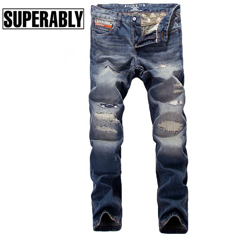 ФОТО European Fashion Men Jeans High Quality Retro Design Destroyed Ripped Jeans For Men Superably Brand Biker Jeans Skull Embroidery