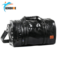 Hot PU leather Large Sports Training Fitness Bag Gym Bag Men Women Independent Shoes Travel HandBag Portable Shoulder Bag
