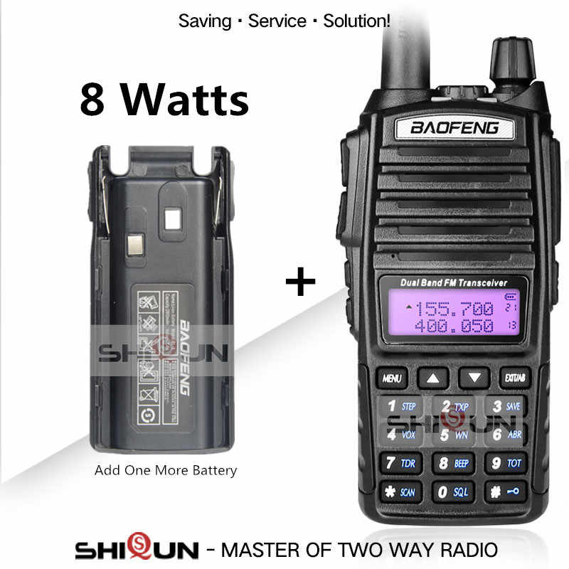 Original Dual PTT Baofeng UV-82 8W Radio 10 KM Walkie Talkie Add Extra Battery Handy Amateur Radio uv-5r UV-9R Plus for hunting