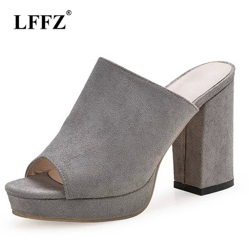 Lzzf 2018 Summer Fashion Chunky High Heels Sandals Women Shoes Open Toe Peep Toe Slip on Woman Tenis Ladies Sandalias FemininaLzzf 2018 Summer Fashion Chunky High Heels Sandals Women Shoes Open Toe Peep Toe Slip on Woman Tenis Ladies Sandalias Feminina