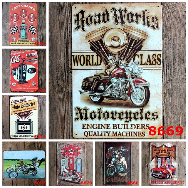 Road Works Classic Motorcycles Retro Metal Poster Muscle Car Garage