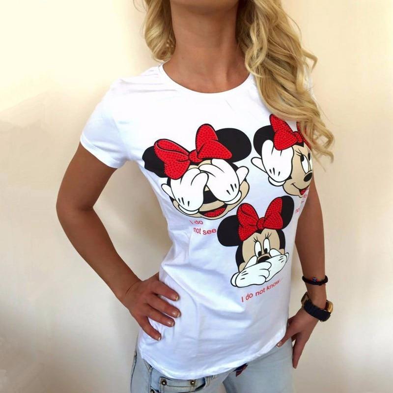 2017 Women t shirt new summer new fashion black white three Mickey printed round neck T-shirt kawaii style Pink Cute S-XL